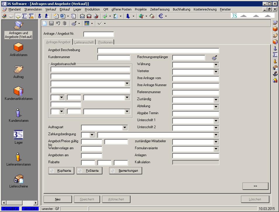 Auftragsbearbeitung Anfragen Und Angebote 3s Wiki
